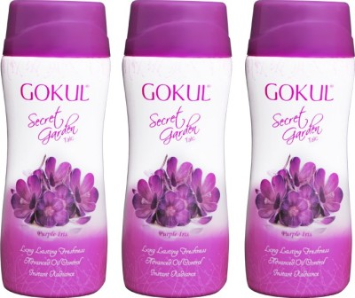 Gokul Secret Garden Talc Purple Iris (Pack of 3)