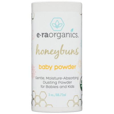 Era Organics Talc Free Baby Powder 3oz. USDA Certified Dusting Powder by Honeybuns Non-GMO, Cruelty Free Natural Baby Products.