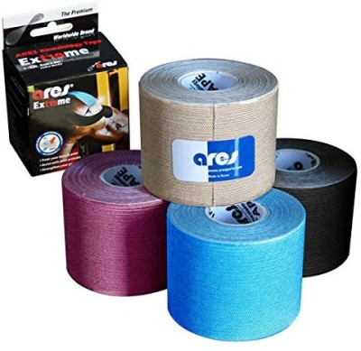 ARES Kinesiology Tape Synthetic EXTREME PRO-Pack Gold Metallic Blue Metallic Pink & Metallic Black Support Tape