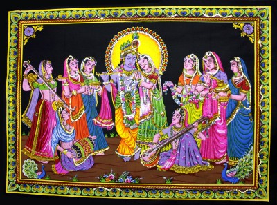 Amazing India Lord Krishna & Radha Gopi Sequin Cotton Wall Hanging Aisbl007 God & Goddess Tapestry