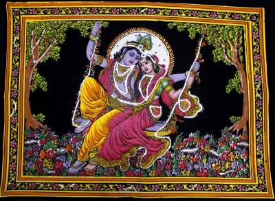 Amazing India Lord Krishna & Radha Sequin Cotton Wall Hanging Aisbm006 God & Goddess Tapestry