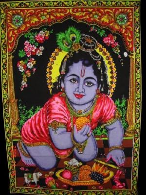 Amazing India Baby Krishna Bal Gopal Janmashtmi Special Sequin Cotton Wall Hanging Aisbm005 God Tapestry