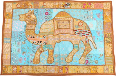 Indigenous Indigenous Handicrafts Multicolor Embroidered Cotton Khambadiya Tapestry (147x94 cm) Traditional Tapestry
