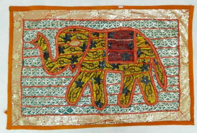 Indias Creation Elephant Figure Tapestry(Multicolor)