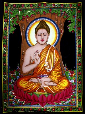 Amazing India Lord Buddha Sequin Cotton Wall Hanging Aisbm010 God Tapestry