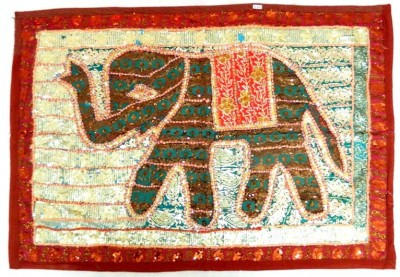 Indias Creation Elephant Tapestry(Multicolor)