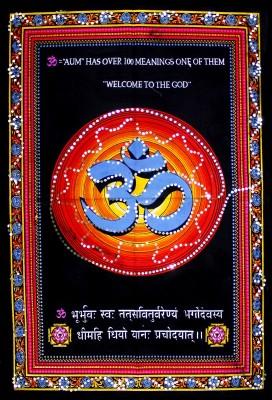 Amazing India Holy Om Shiva Symbol Aum Sequin Cotton Wall Hanging Aisbm001 God Tapestry