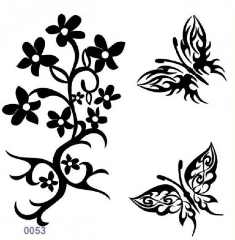 Shimmer Fans Glitter Tattoo Kit (TAPE + GLITTER)(Flower, Butterfly)