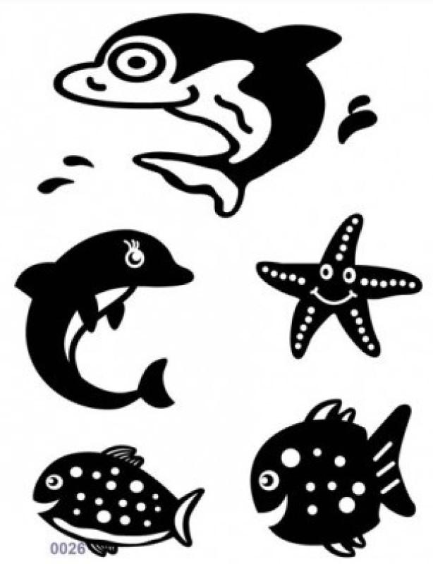 Shimmer Fans Glitter Tattoo Kit (TAPE + GLITTER)(Sea Animals)