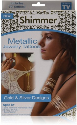INVENTURE RETAIL Beautiful Metallic Tattoos - 4 Sheets Over 75+ Stylish Designs-Silver and Gold.Shimmer Jewelry Including Bracelets, Necklaces,Doves, Dreamcatcher, Arrows, Stars etc