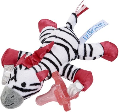 Dr.Brown's Zoey the Zebra Lovey with Pink One-Piece Silicone Pacifier Teether