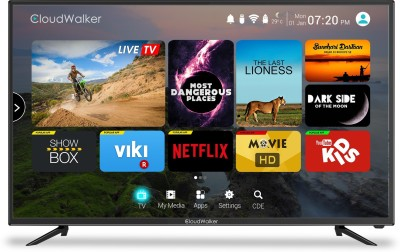 CloudWalker Cloud TV 109cm (43) Ultra HD (4K) Smart LED TV(CLOUD TV 43SU, 3 x HDMI, 2 x USB) at flipkart