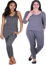 Huggers Huggers womens thermal top pyjama set sleeveless and 3/4 sleeves Women's Top - Pyjama Set