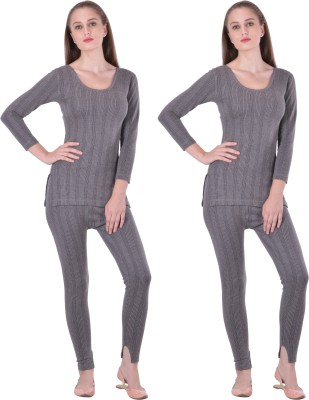 Lux Inferno Women Charcoal Melange Women's Top - Pyjama Set at flipkart