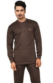 Lux Cottswool Full Sleeve Round Neck Brown Thermal Men's Top