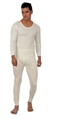 Lux Inferno White Full Sleeves Round Neck Men's Top - Pyjama Set