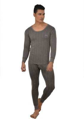 Lux Inferno Charcoal Melange Full Sleeves Round Neck Mens Top - Pyjama Set