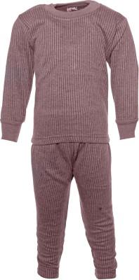 Babeezworld Brown Thermal Boy's Top - Pyjama Set