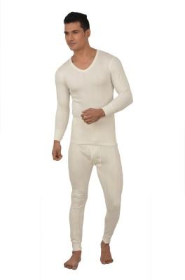 Lux Inferno White Full Sleeves V-Neck Men's Top - Pyjama Set