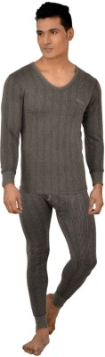 Lux Inferno Charcoal Melange Full Sleeves V- Neck Mens Top - Pyjama Set
