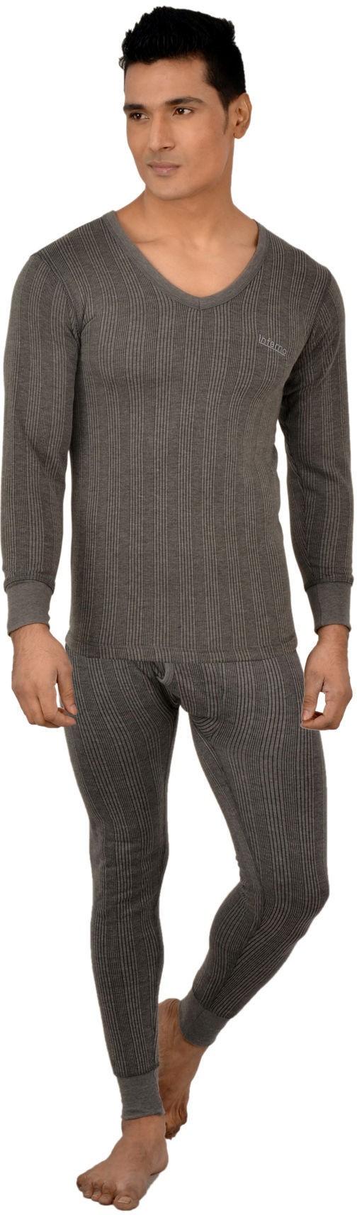Lux Inferno Charcoal Melange Full Sleeves V- Neck Mens Top - Pyjama Set
