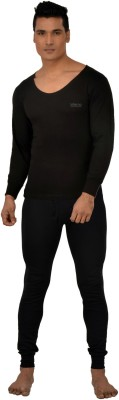 Lux Inferno Plus Black Full Sleeves Round Neck Mens Top - Pyjama Set