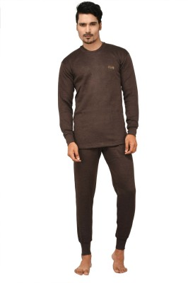 Lux Cottswool Brown Full Sleeves Round Neck Mens Top - Pyjama Set