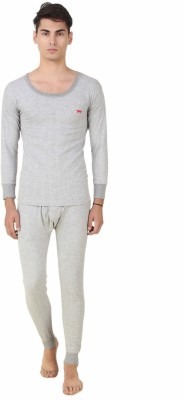 HAP Kings Light Grey Quilted Thermal Set Mens Top - Pyjama Set