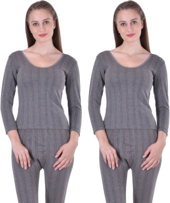 Lux Inferno Women Charcoal Melange Women's Top at flipkart
