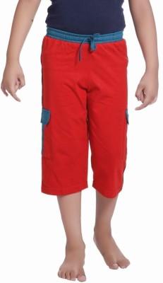 Red Ring Self Design Boy's Three Fourths