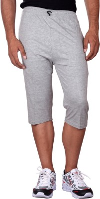 Black Casual Solid Men's Three Fourths