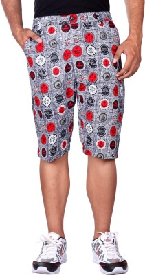 Black Casual Printed Men's Three Fourths