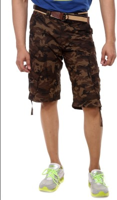 Sports 52 Wear Printed Men's Brown Cargo Shorts