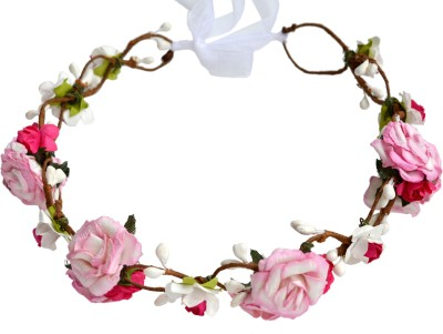 Paperiva Crown & Tiara(Pink, White, Pack of 1)
