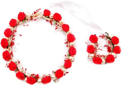 Sanjog Splendid Red And Pearl Tiara/Crown And Hand Tiara For Wedding For Bride/bridesmaid/Birthday Girls Hair Accessory Set