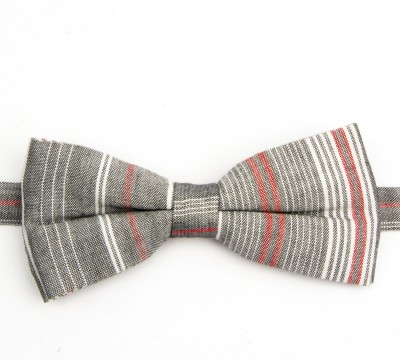 Take A Bow Pink Grey Striped Overlap Bow Tie Striped Men's Tie