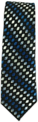 The Tie Hub Rambling Diamond-Blue/Black Self Design Men's Tie