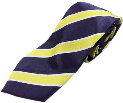 Blacksmithh Luxurious Yellow and Navy Blue Striped Striped Men's Tie