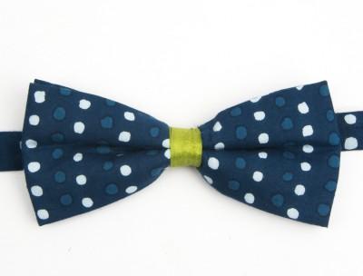 Take A Bow Polka Indigo Overlap Bow Tie Polka Print Men's Tie