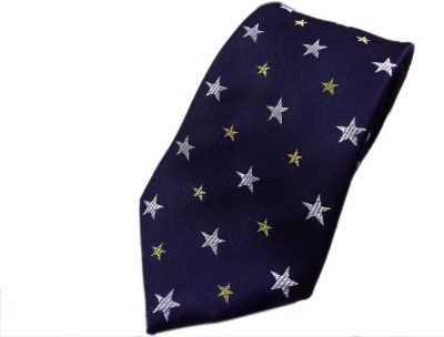 Blacksmithh Navy Blue Stars Formal Self Design Men's Tie