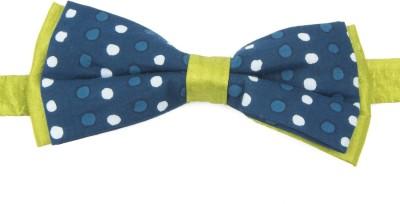 Take A Bow Indigo Silk Overlap Bow Tie Polka Print Men's Tie