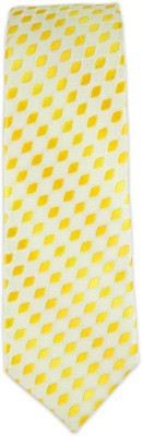 The Tie Hub Rambling Diamond-yellow/Cream Self Design Men's Tie