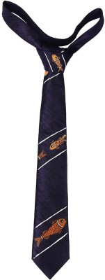 EthnicShack Diagonal Fishes All Over Body Hand Painted Neck Self Design Men's Tie