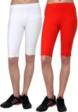Casualtees Solid Girls White, Red Tights