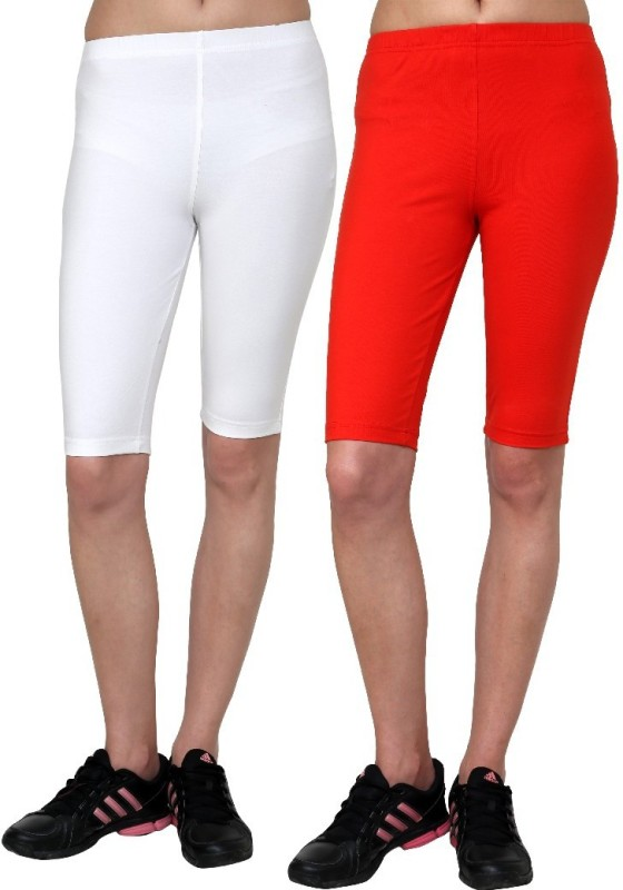 Casual Tees Solid Women's White, Red Tights