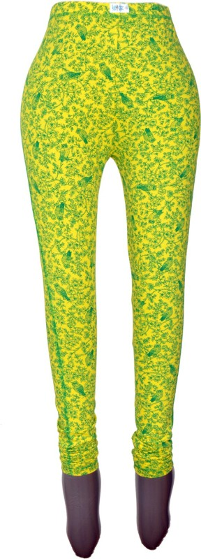 Revinfashions Floral Print Women's Yellow Tights