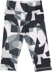 Adidas Printed Girls White, Black, Grey Tights