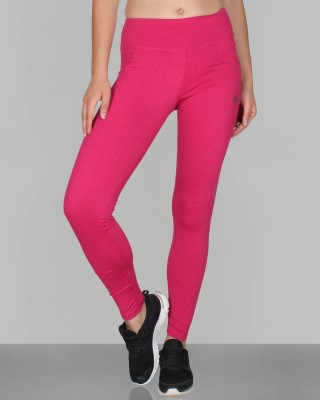 CREEZ Solid Women,s Pink Heather Full Length Sports Tights