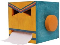 INDIKALA Multicoloured Ethnic Wooden Toilet Roll Holder Wooden Toilet Paper Holder(Lid Included)