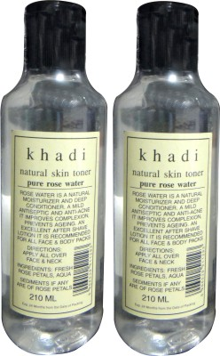khadi Natural Skin Toner Pure Rose Water Pack of 2